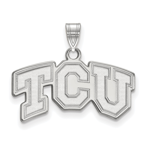 Sterling Silver 1/2in Texas Christian University TCU Pendant