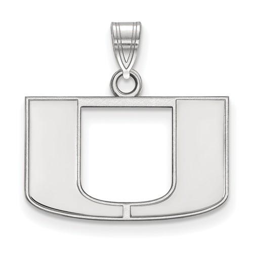 Sterling Silver 1/2in University of Miami U Logo Pendant