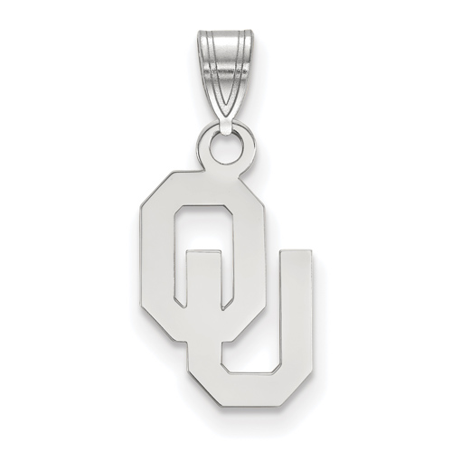 Sterling Silver 1/2in University of Oklahoma OU Pendant