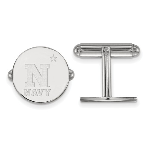 US Naval Aacademy NAVY Round Cuff Links Sterling Silver