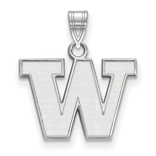 Sterling Silver 1/2in University of Washington W Pendant
