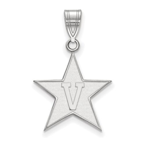 Vanderbilt University Star Pendant 3/4in 14k White Gold