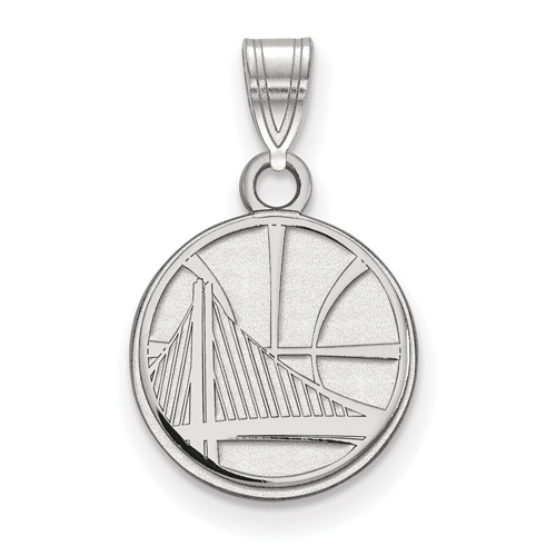 Sterling Silver 1/2in Golden State Warriors Small Pendant