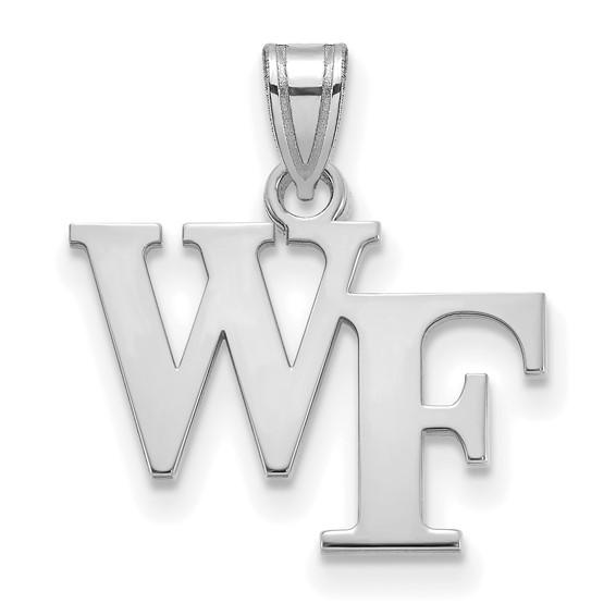 10k White Gold Wake Forest University WF Pendant 1/2in