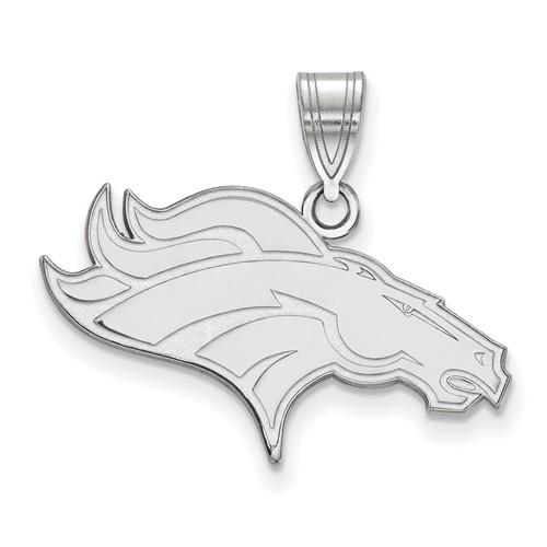 14k White Gold 7/8in Denver Broncos Pendant