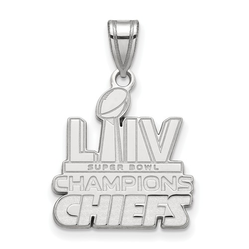 Sterling Silver Kansas City Chiefs Super Bowl LIV Pendant 3/4in