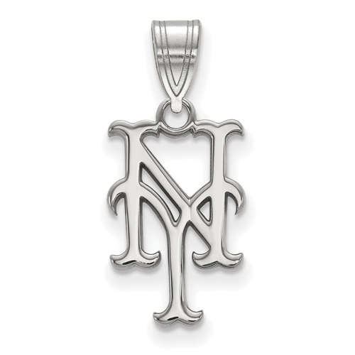 14kt White Gold 5/8in Laser-cut New York Mets NY Pendant