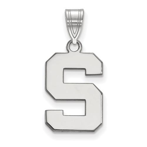 Sterling Silver 5/8in Michigan State University Block S Logo Pendant