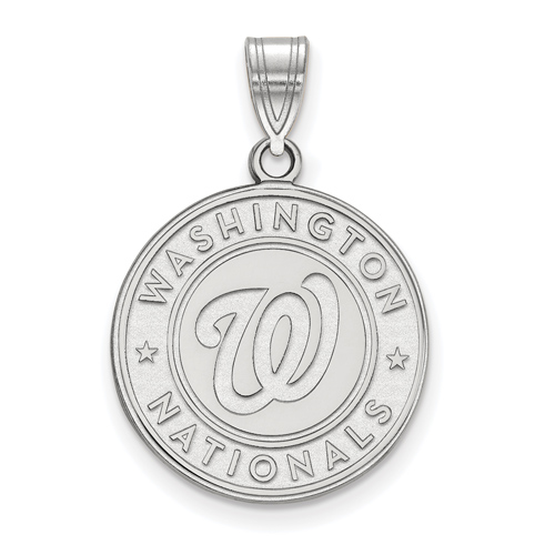 Sterling Silver 3/4in Round Washington Nationals Pendant