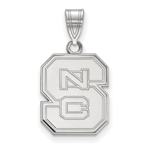 Sterling Silver 5/8in North Carolina State University Block S Pendant