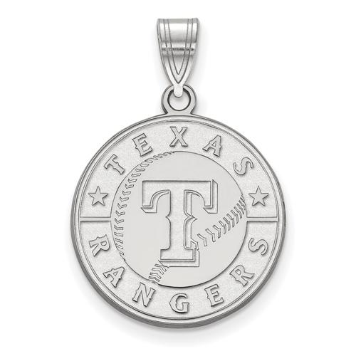 14k White Gold 3/4in Round Texas Rangers Pendant