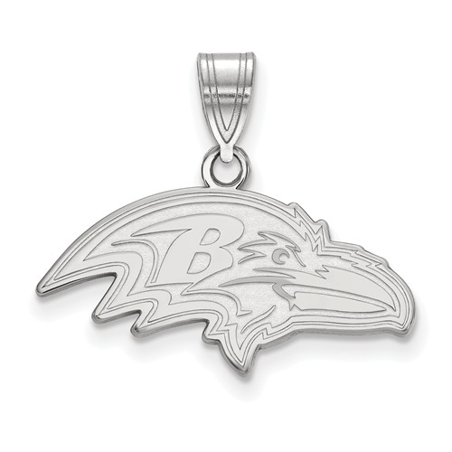 Sterling Silver 7/8in Baltimore Ravens Pendant