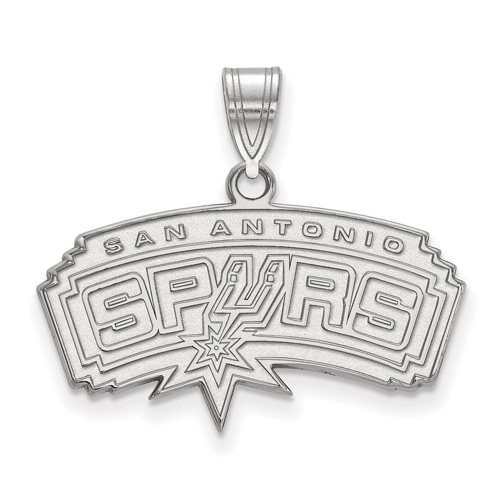 Sterling Silver 5/8in Arched San Antonio Spurs Pendant