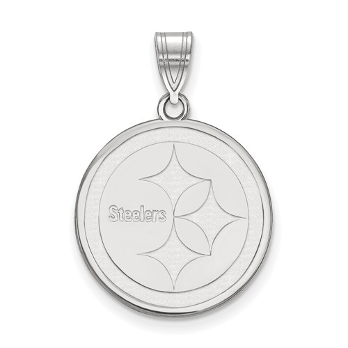 Sterling Silver 5/8in Pittsburgh Steelers Round Pendant