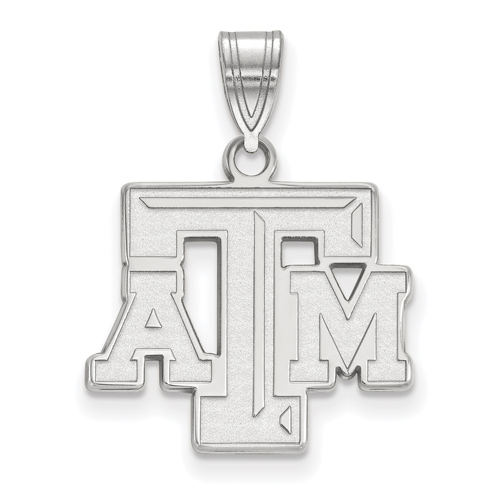 Sterling Silver 5/8in Texas A&M University Beveled ATM Pendant
