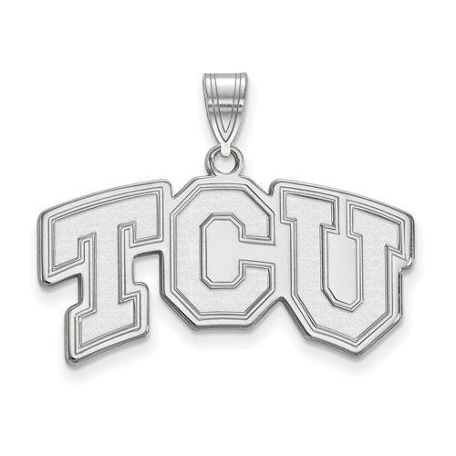 Sterling Silver 5/8in Texas Christian University TCU Logo Pendant