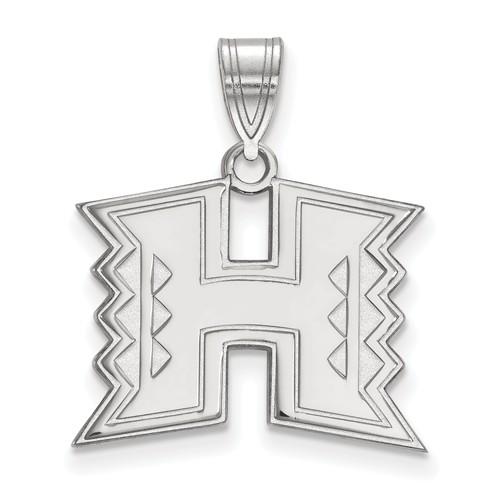 University of Hawaii Logo Pendant 5/8in 10k White Gold