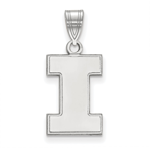 Sterling Silver 5/8in University of Illinois Block I Pendant