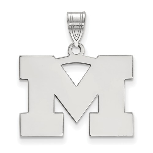 Sterling Silver 5/8in University of Michigan M Pendant