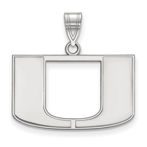 14kt White Gold 5/8in University of Miami U Logo Pendant