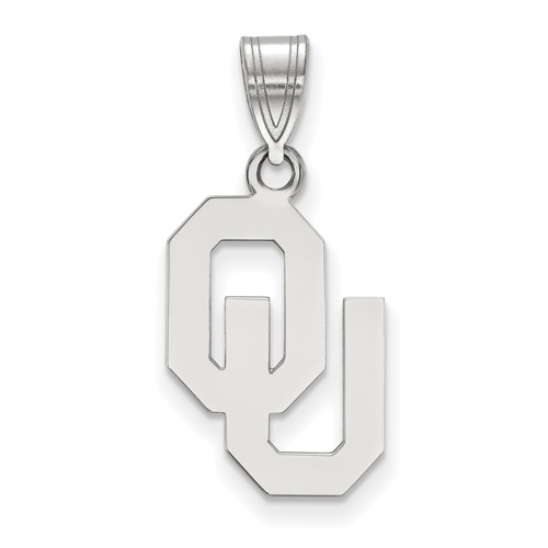 Sterling Silver 5/8in University of Oklahoma OU Pendant
