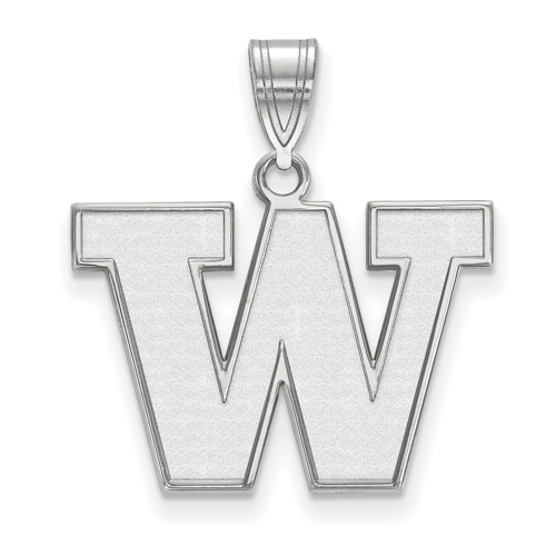 Sterling Silver 5/8in University of Washington W Pendant
