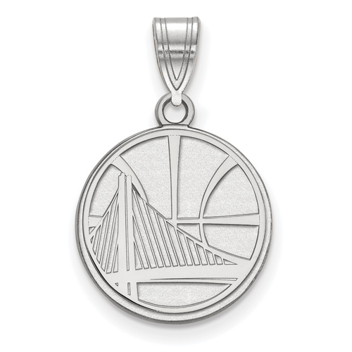 Sterling Silver 5/8in Golden State Warriors Basketball Pendant
