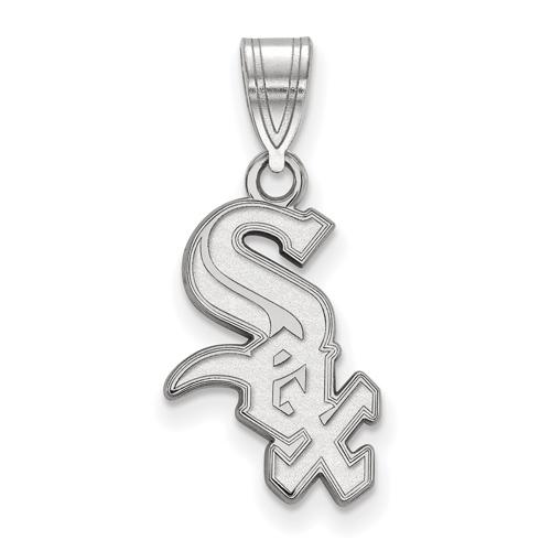 10kt White Gold 5/8in Chicago White Sox Logo Pendant