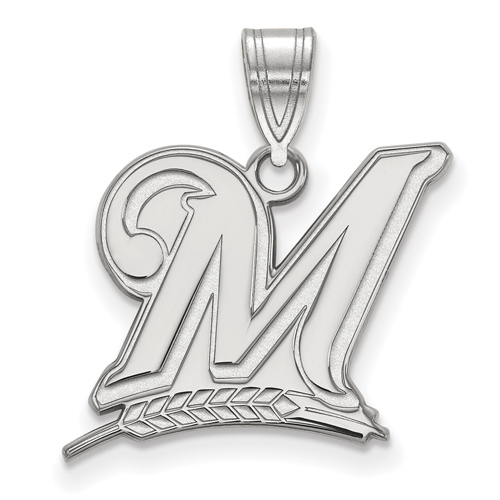 Sterling Silver 5/8in Milwaukee Brewers M Logo Pendant