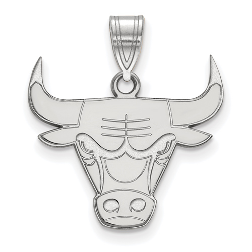 Sterling Silver 5/8in Chicago Bulls Logo Pendant