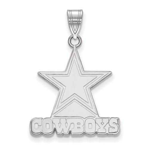 10k White Gold 3/4in Dallas Cowboys Pendant