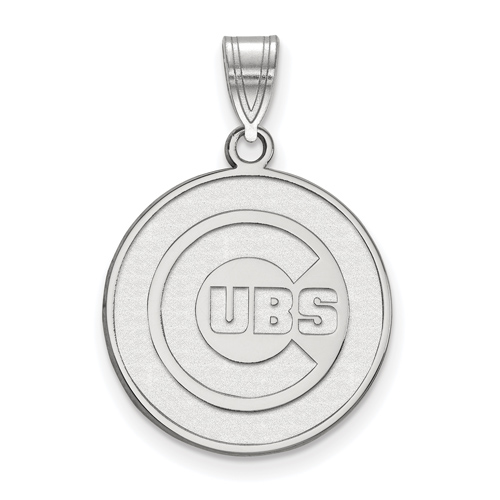 Sterling Silver 3/4in Chicago Cubs Round Laser-cut Pendant