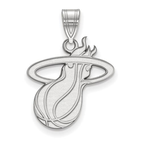 Sterling Silver 5/8in Miami Heat Logo Pendant
