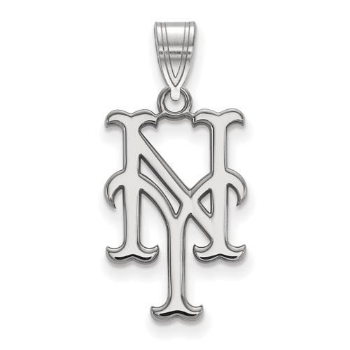14kt White Gold 3/4in New York Mets NY Pendant