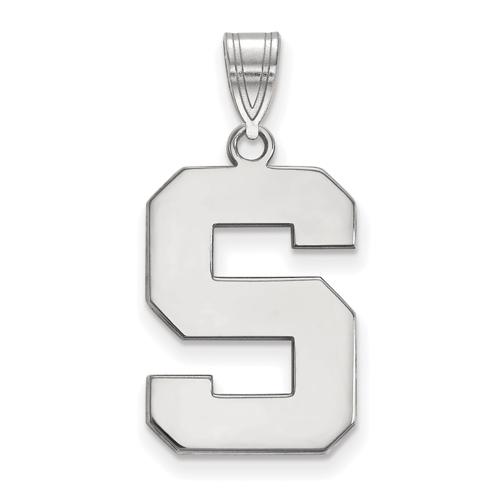 Sterling Silver 3/4in Michigan State University Block S Pendant