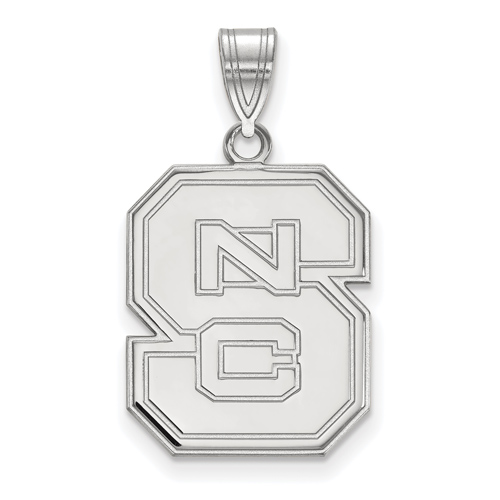 Sterling Silver 3/4in North Carolina State University Block S Logo Pendant