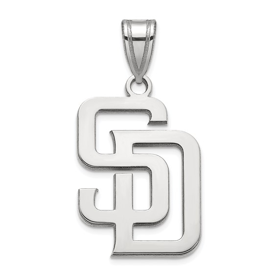 14k White Gold 3/4in San Diego Padres SD Pendant