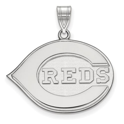 Sterling Silver 3/4in Cincinnati Reds Logo Pendant