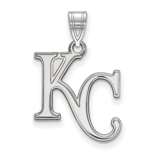 10kt White Gold 3/4in Kansas City Royals KC Pendant