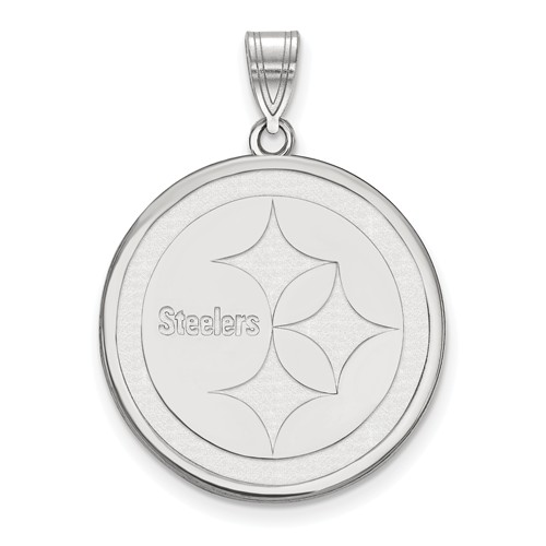 Sterling Silver 7/8in Round Pittsburgh Steelers Pendant