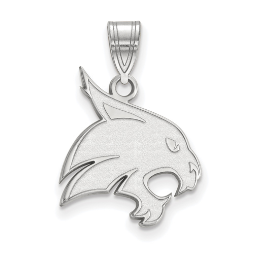 Texas State University Bobcat Pendant 3/4in Sterling Silver
