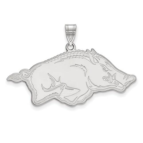 10k White Gold 3/4in University of Arkansas Razorback Pendant
