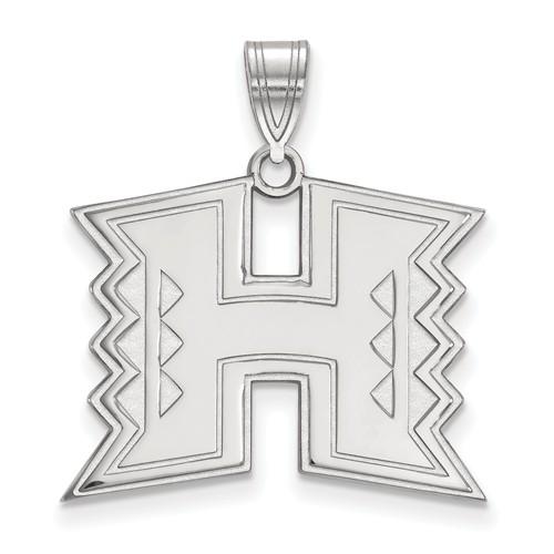 University of Hawaii Logo Pendant 3/4in 10k White Gold