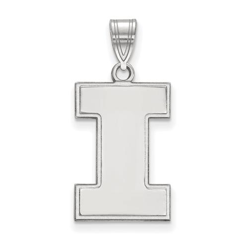 Sterling Silver 3/4in University of Illinois Block I Pendant