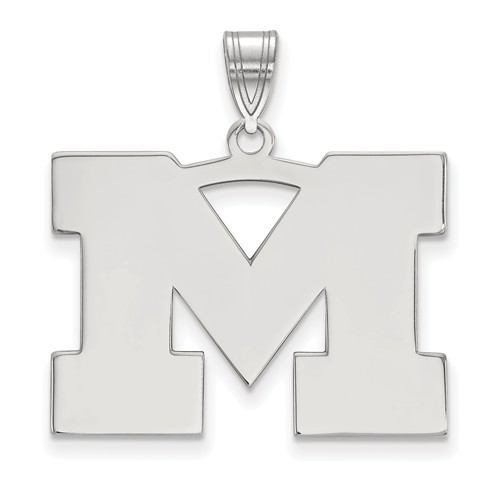 Sterling Silver 3/4in University of Michigan M Pendant
