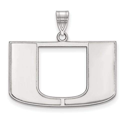 Sterling Silver 3/4in University of Miami U Pendant