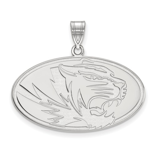 Sterling Silver 3/4in University of Missouri Tiger Oval Pendant