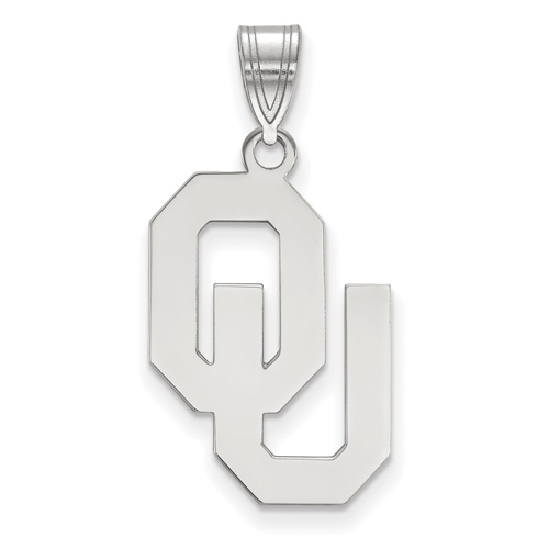 Sterling Silver 3/4in University of Oklahoma OU Pendant
