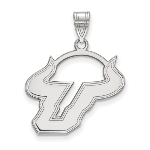 Sterling Silver Univ of South Florida Bull Horns U Pendant 3/4in