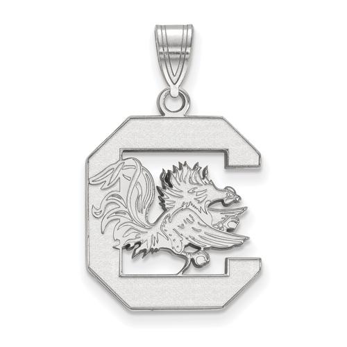 Sterling Silver 3/4in University of South Carolina  Logo Pendant